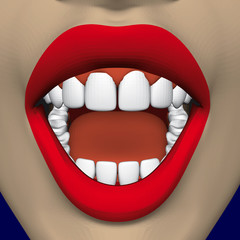 Open mouth of a girl with bright red lips and snow-white healthy teeth. 3D. Vector illustration