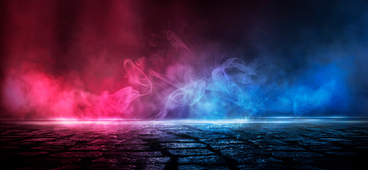 Wall Murals Smoke Wet asphalt, reflection of neon lights, a searchlight, smoke. Abstract light in a dark empty street with smoke, smog. Dark background scene of empty street, night view, night city.