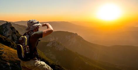 tourist and  mountain landscape Crimea