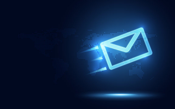 Futuristic blue express envelope and parcel abstract technology background. Business quantum internet network communication and high speed parcel delivery and email text sending message service
