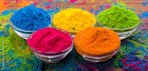 Holi color powder. Organic Gulal colours in bowl for Holi festival ...
