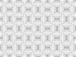 The geometric pattern with wavy lines. Seamless vector background. White and grey texture. Simple lattice graphic design.