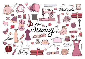 Big set of hand drawn sewing elements isolated on white background. Vector doodle sewing