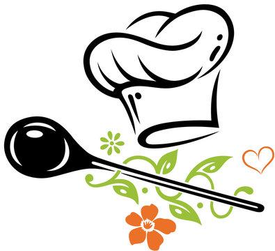 Kochen Kochmütze Chefkoch Vegan. Gesundes kochen. Kochmütze mit Kochlöffel, Pflanze, Blumen und Herz. Auch passend für Veganer und Vegetarier. Geschenkidee für Köche, Koch, Lehrling und Hobbykoch.