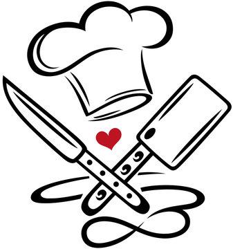 Kochen Kochmütze Chefkoch Messer Infinity Symbol. Kochmütze mit Messer, Hackebeil, Herz und Unendlichkeitssymbol. Geschenkidee für Köche, Koch, Lehrling, Köchin und Hobbykoch.