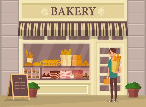 Shopper with baguette near bakery shop, store