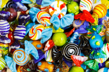 glass souvenirs from the island of Murano, Italy