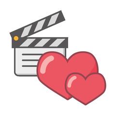 clapperboard love hearts feeling