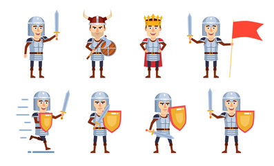 Set of medieval knight characters showing different battle actions. Cheerful knight holding flag, wearing crown and showing other actions. Flat style vector illustration