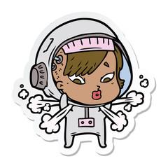 sticker of a cartoon astronaut woman