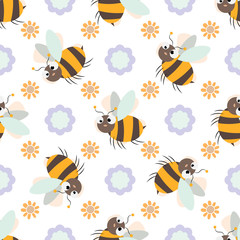 Seamless pattern with Friendly Cute cartoon Bee and flower