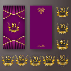 Set of anniversary card, invitation with laurel wreath, numbers. Decorative gold emblem of jubilee on purple background.