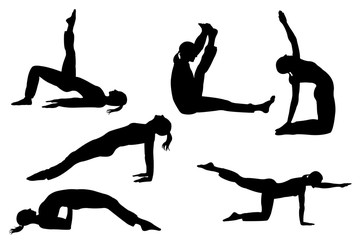 collection of yoga female  silhlouette isolated on white background with clipping path
