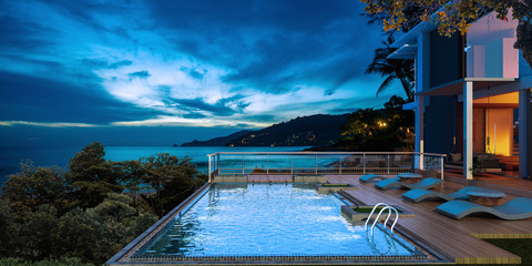 Sea view swimming pool in modern loft design,Luxury ocean Beach house, Fototapete