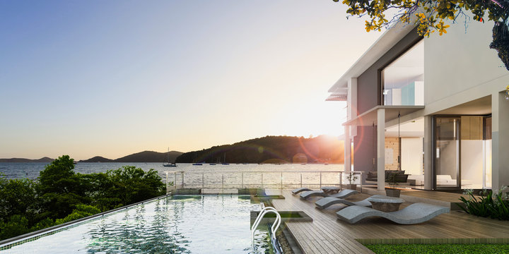 Sea view swimming pool in modern loft design,Luxury ocean Beach house