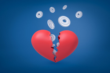 3d rendering of valentine heart broken in two with light-grey cogwheels flying out from inside.
