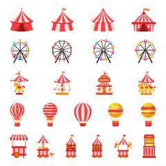 Carnival set. Amusement park. Vector illustration on white isolated background