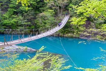 写真素材:寸又峡、静岡県、つり橋、遠景、風景