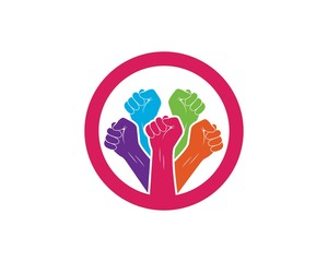 success,togetherness hand icon logo vector