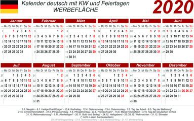 Kalender 2020 - rot - quer - deutsch - mit Feiertagen (85 x 54 mm)