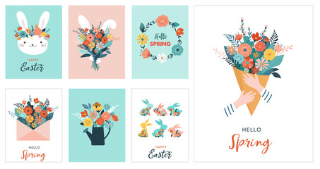 Happy Easter vector illustration, greeting card, poster