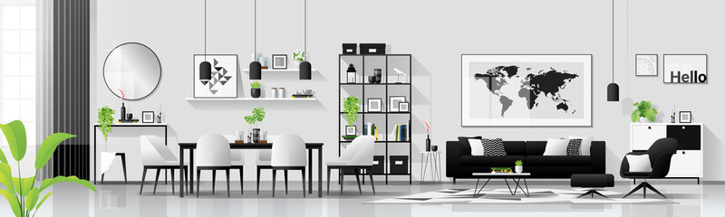 Modern house interior background with living and dining room combination in scandinavian style , vector , illustration