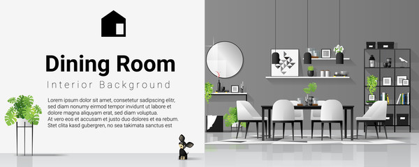 Interior background with dining room in modern black and white scandinavian style , vector , illustration