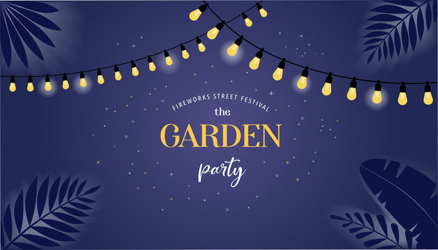 Night garden party banner, invitation card. Vector design