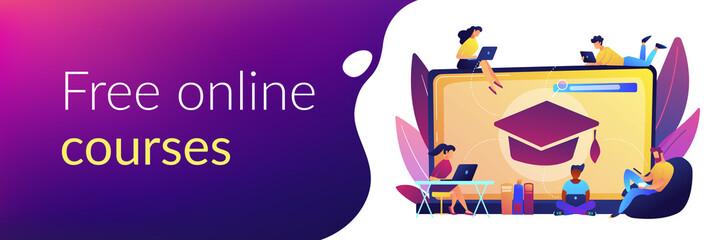 Fototapeta Online courses concept banner header. obraz