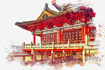 Watercolor sketch or illustration of a beautiful view of the traditional Chinese architecture or temple in Beijing in China
