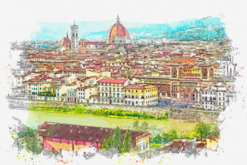 Watercolor sketch or illustration of a beautiful view of the cityscape of Florence in Italy