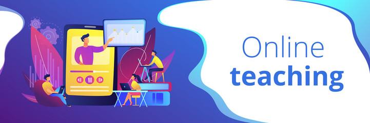 Online teaching concept banner header.