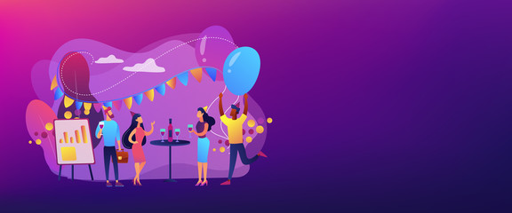 Corporate party concept banner header.