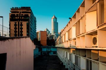 Bangkok density residentail building slum with luxury building.