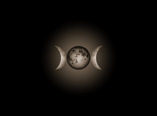 Wiccan Triple Moon Religious realistic mystic sign Wicca and Neopaganism symbol. Triple Goddess moon isolate  or black universe background