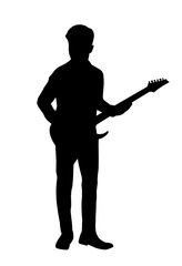 vector of  silhouette man with guitar