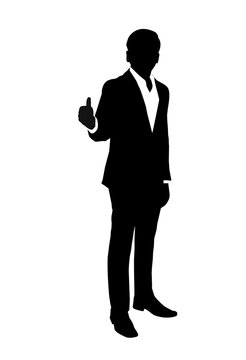 vector of silhouette businessman with  thumb up