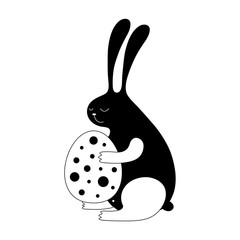 Cartoon Easter bunny illustration with sweet bunny holding an egg. Cute vector black and white Easter bunny illustration. Monochrome Easter bunny illustration for prints, posters, t-shirts and cards.