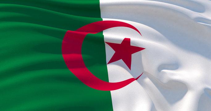 Algeria flag patriotic background, 3d illustration