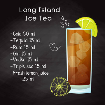 Simple recipe for an alcoholic cocktail Long Island Ice Tea. Drawing chalk on a blackboard. Vector