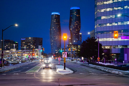 Mississauga, Canada, February 14, 2019: Twin towers of Absolute Condos in, these high-rise Mississauga condos were built in 2007 by Fernbrook Homes. Located in Mississauga's City Centre neighbourhood