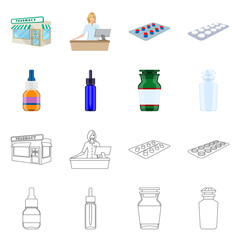 Vector illustration of retail and healthcare logo. Collection of retail and wellness vector icon for stock.