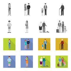 Vector illustration of character and avatar  logo. Collection of character and portrait stock symbol for web.