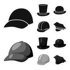 Vector design of clothing and cap sign. Collection of clothing and beret stock vector illustration.