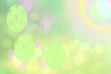 Happy easter background. Abstract delicate light pastel spring summer background texture with a abstract rainbow and colorful easter eggs. Space for your design. Beautiful texture.