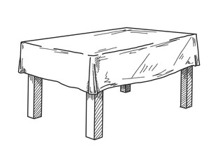 Realistic sketch of the table in perspective. Vector