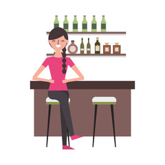 woman sitting in the bar
