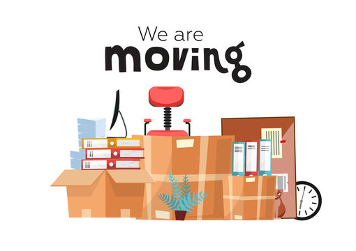 Moving to new office with boxes. Office accessories in cardboard box isolated on white background - monitor, folders, stack of papers, plant, office chair, clock, board stationery. Flat cartoon vector