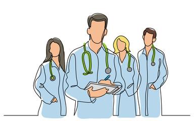 Fototapeta continuous vector line drawing of team of doctors obraz