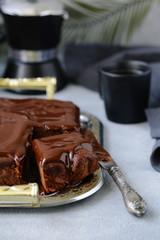 chocolate brownie cake with ganache